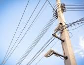 Image of cctv camera on electric pole — Stock Photo