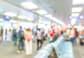 Blurred waiting chairs zone in airport,use as background — Stock Photo