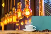 Coffee shop blur background with bokeh  — Stock Photo