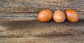 Image of Easter eggs on wooden background — Stock Photo
