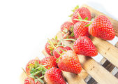 Fresh strawberry on wood table isolated on white background. — Foto de Stock
