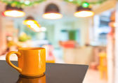 Coffee shop blur background with bokeh image — Stock Photo
