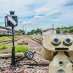 Old  lamp pole on railway — Stock Photo #68884747