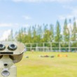 Blurred shot of soccer field at school on day time image. — Stock Photo #68898393
