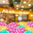 Coffee shop blur background with bokeh and easter eggs image  — Stock Photo #68899781