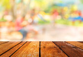 Blur background image of people activities in public park with b — Stock Photo