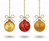 Hanging christmas balls isolated on white background — Stock Photo