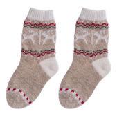 Woollen children socks isolated on white background — Stock Photo