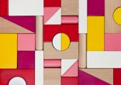 Background of multicolor wooden children toy blocks — Stock Photo