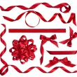 Various red bows, knots and ribbons isolated on white — Zdjęcie stockowe #58950509