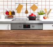 キッチン ベンチ背景にウッド テクスチャ テーブル — ストック写真