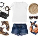 Set of feminine tourist summer clothing isolated on white — Stock Photo #71425067