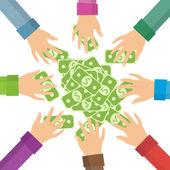 Hands and money — Stock Vector
