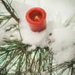 Candle in snow — Stock Photo #65779893