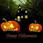 Halloween ve starém kostele — Stock vektor #54755595