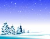 Zimowy krajobraz drzew — Wektor stockowy