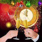 New Year clock — Stock Vector