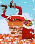 Santa Claus stuck in chimney — Stock Vector