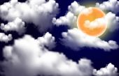 Full moon over white clouds — Vettoriale Stock