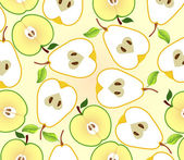 Background with apple and pear halves — Stock Vector