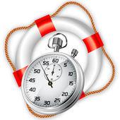 StopWatch in Lifebuoy — Stock Vector