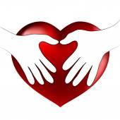 Hands heart hug — Stock Vector