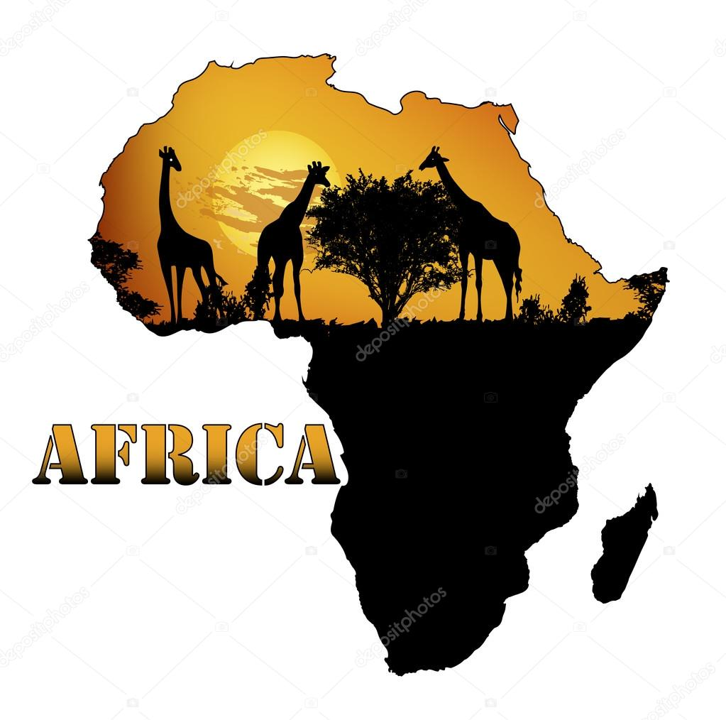 在地图上的非洲动物群