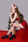 Beautiful asia woman model in Santa Claus clothes — Foto de Stock