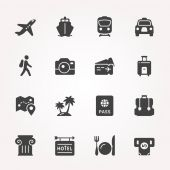 Traveling and transport icon set. — Stock Vector