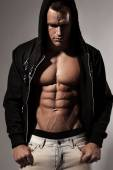Strong Athletic Man Fitness Model Torso showing six pack abs. — Stock Photo