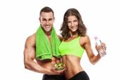 Beautiful young sporty sexy couple — Stock Photo