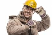 Dirty Worker Man With Hard Hat helmet — Foto de Stock