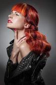 Red Hair. Fashion Girl Portrait — Stock Photo