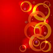 Red Cristmas background with lights — Stock Vector