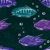 Fish seamless pattern — Stock Vector