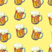 Seamless pattern with beer mugs — Stock Vector