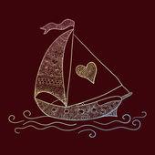 Scheda di amore con la nave — Vettoriale Stock