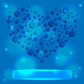 AbsBlue water drops heart — Stock Vector