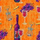 Seamless wine pattern — Stock Vector
