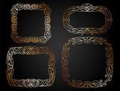 Hand drawn golden doodle frames — Stock Vector