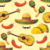 Mexican seamless music pattern — Stock Vector