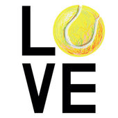 """The word """"love"""" with tennis ball — Stock Vector"""