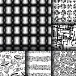 Set of 6 monochrome elegant seamless patterns — Stock Vector #80303310