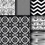 Set of 6 monochrome elegant seamless patterns — Stock Vector #80308348