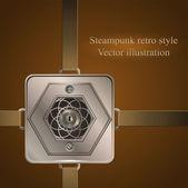 Bakgrund bälten med metalliskt banner. Vektor illustration. Steampunk — Stockvektor
