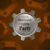 Invitation flyer on retro steampunk party in brown tones — Stockvector