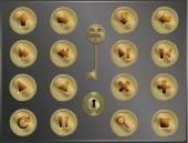 Набор круглых металлических символов в ретро steampunk styl — Cтоковый вектор