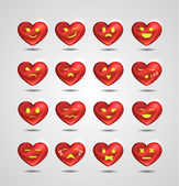 Funny metal heart-shaped emoticons for your site — Stock Vector