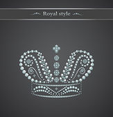 Elegant royal crown on a gray background — Stock Vector