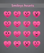 Funny pink heart-shaped emoticons — Stock Vector